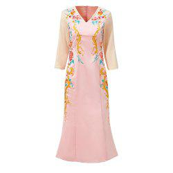 UILY 2019 Spring New Chinese Wind Women'S Embroidery Slimming Skinny Cheongsam -