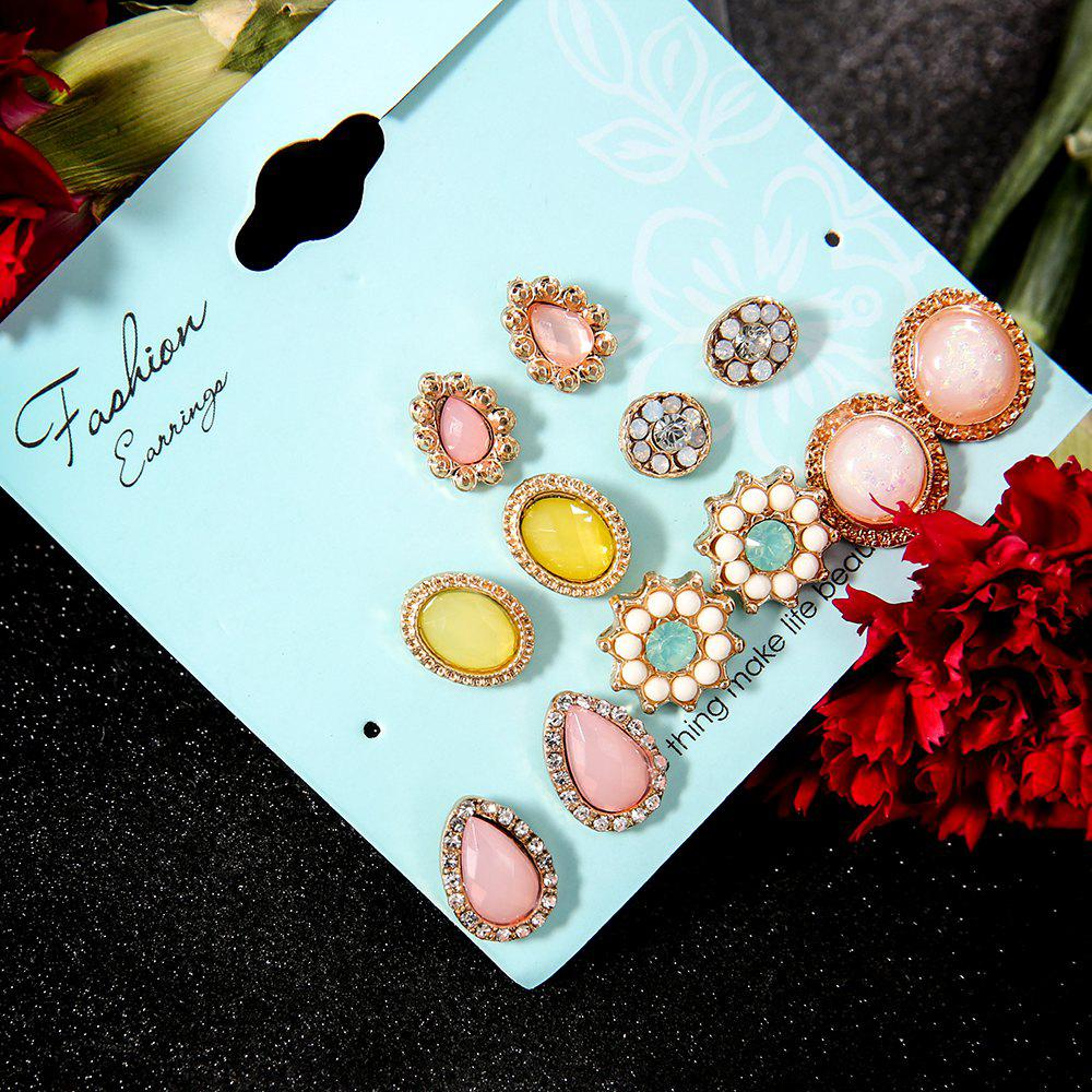 6 Pairs/Set Colorful Flower Stone Stud Earrings Set For Women Fashion Earring