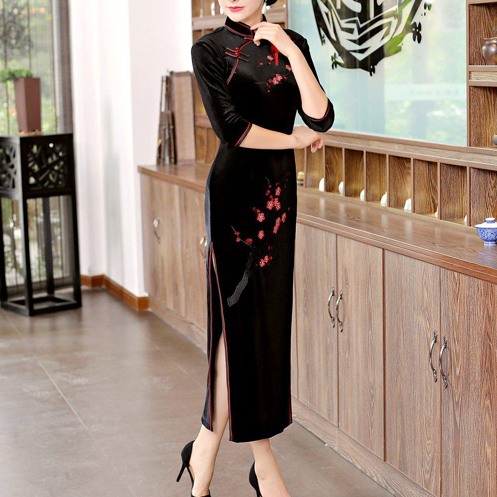 Fashion Classical Aristocratic Style Slim Sexy Embroidered Printed Cheongsam