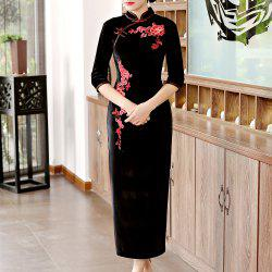 Classical Aristocratic Self-Cultivation Flower and Bird Embroidery Cheongsam -