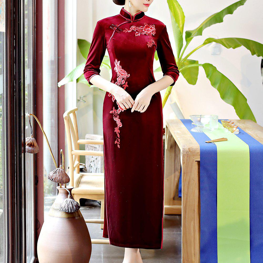 Outfits Classical Aristocratic Self-Cultivation Flower and Bird Embroidery Cheongsam