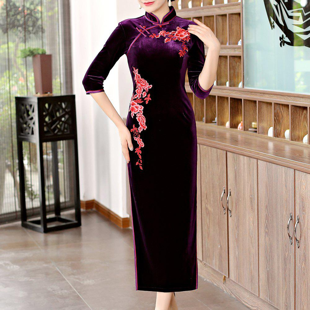 Online Classical Aristocratic Self-Cultivation Flower and Bird Embroidery Cheongsam