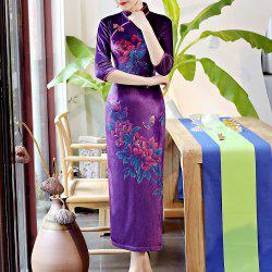 Classical Aristocratic Self-Cultivation Flower Embroidery Sexy Cheongsam -