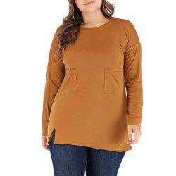 Solid Color Long Sleeve Round Collar Casual T Shirt -
