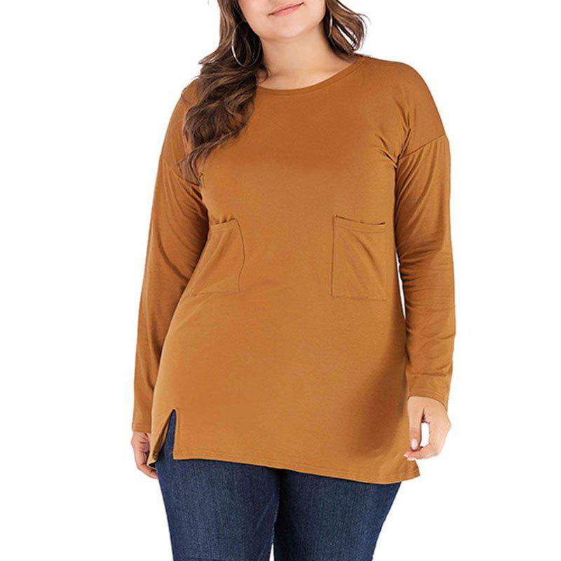 Buy Solid Color Long Sleeve Round Collar Casual T Shirt