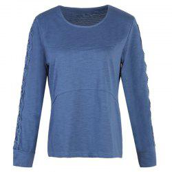Solid Color Lace Splicing Long Sleeve Casual T Shirt -