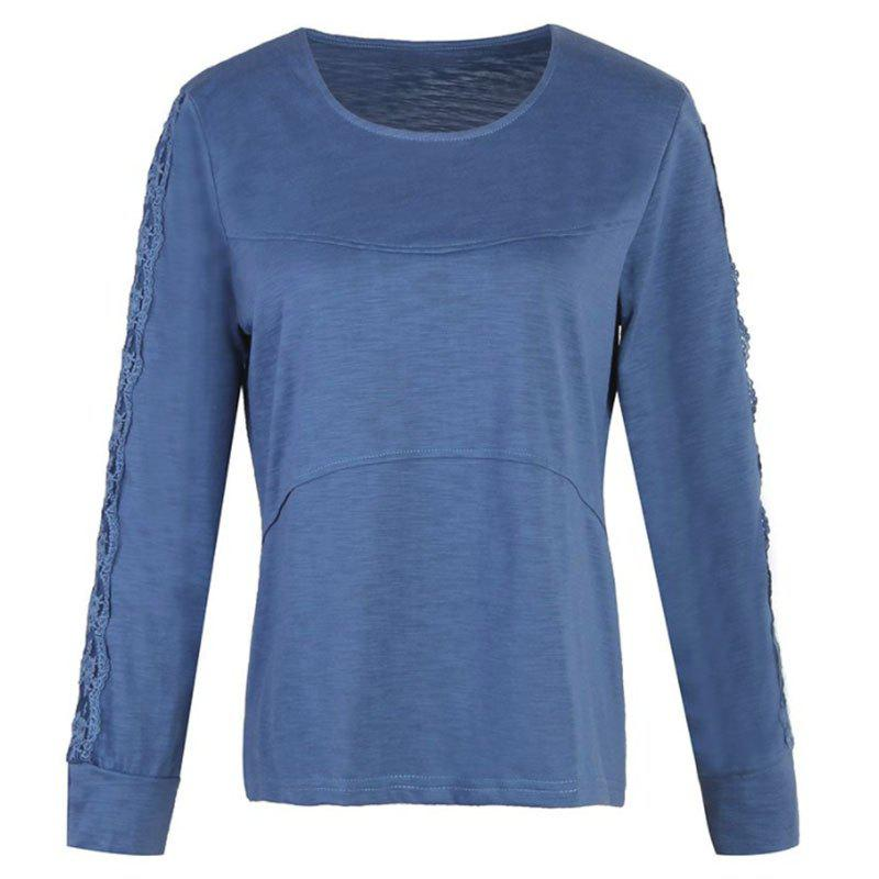 Unique Solid Color Lace Splicing Long Sleeve Casual T Shirt