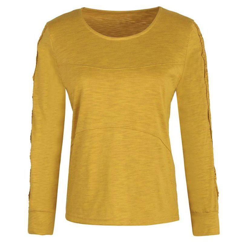 Hot Solid Color Lace Splicing Long Sleeve Casual T Shirt