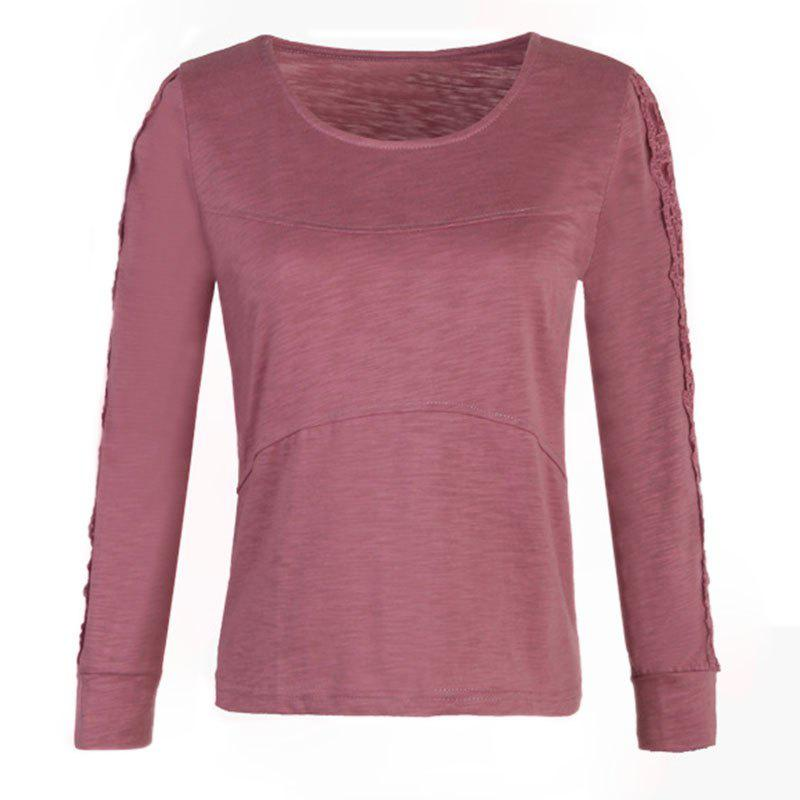 Outfit Solid Color Lace Splicing Long Sleeve Casual T Shirt