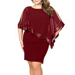 Robe de couleur unie slim - Rouge Vineux 3XL