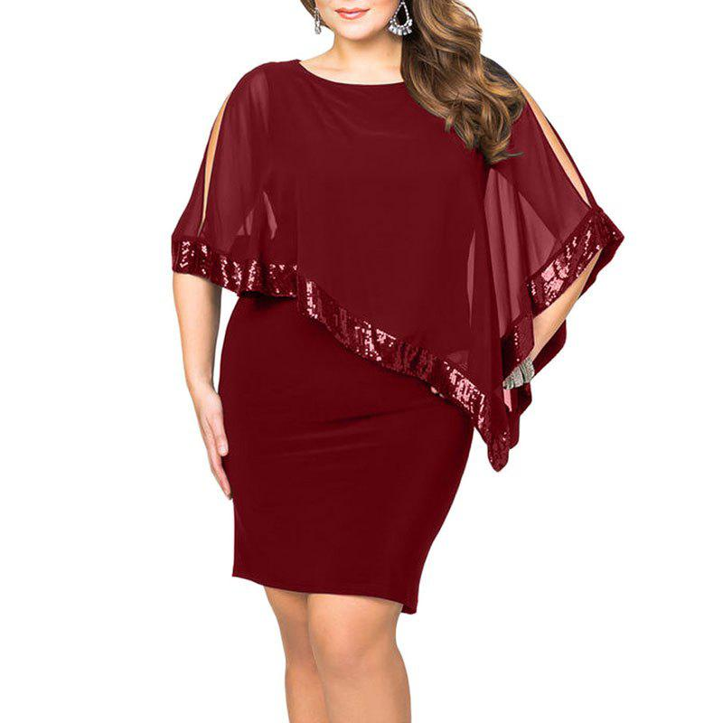 Robe de couleur unie slim Rouge Vineux 3XL
