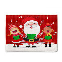 Set de table en lin imprimé simple face Chorus Santa Claus - Multi 30x45cm