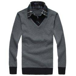 New Man Shirt Collar with Sweater Korea Fashion Slim Casual Sweater Pullover -