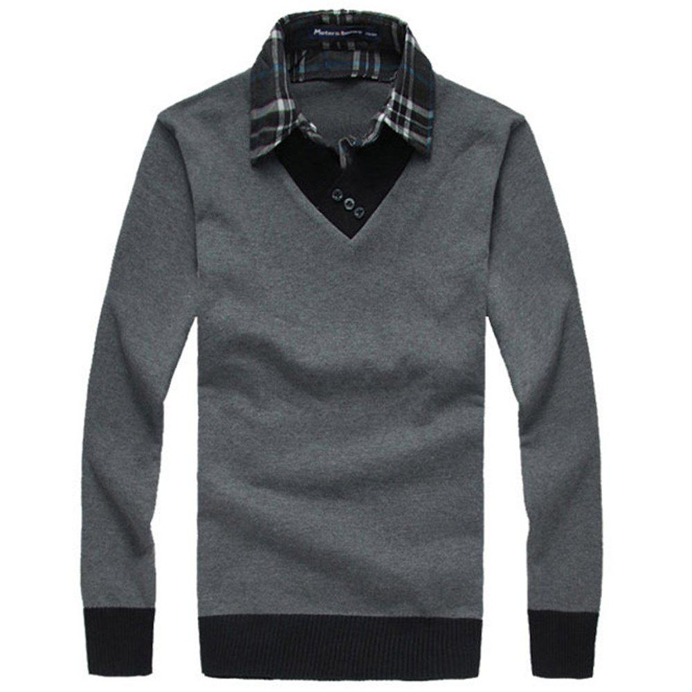 Affordable New Man Shirt Collar with Sweater Korea Fashion Slim Casual Sweater Pullover