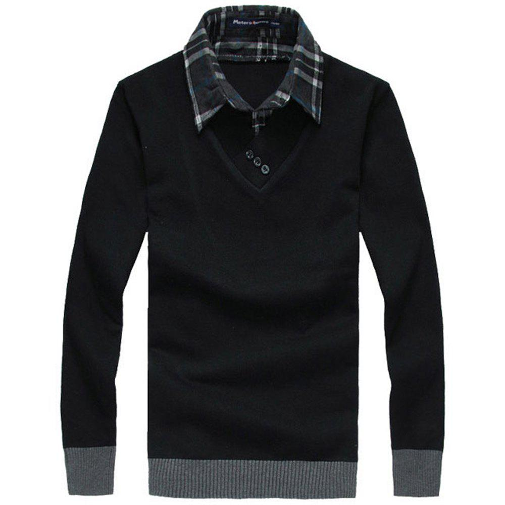 New New Man Shirt Collar with Sweater Korea Fashion Slim Casual Sweater Pullover