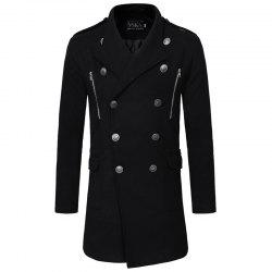 Autumn And Winter Double Breasted Collar Men's Leisure Cultivation Long Woolen -