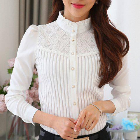 Stand Collar Lace Patchwork Slim Career OL Long Sleeve Plus Size Chiffon Shirt