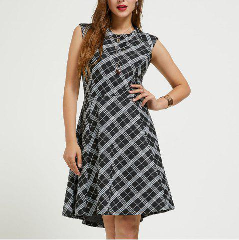 SBETRO Plaid Dress Black White Knit Zip Trim Sleeveless Crewneck Fit Flare Dress