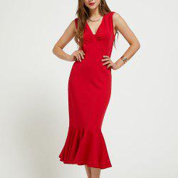 SBETRO Solid Evening Dress Deep V Neck Stretch Crepe Sleeveless Fit Ruffle Hem -