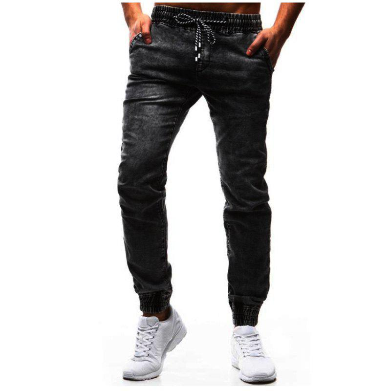 Shop Classic Loose Tether Elastic Men's Casual Feet Jeans