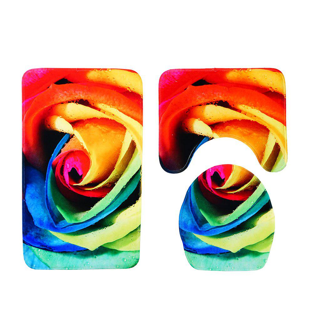 Trendy Colorful Rose Printing Toilet Combination Mat Three-Piece