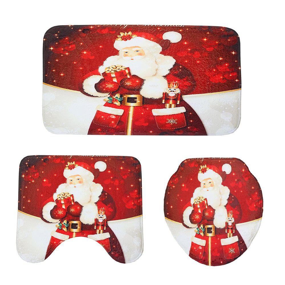 Red Christmas Toilet Mat Three-Piece