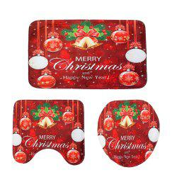 New Red Christmas Toilet Mat Three-Piece -