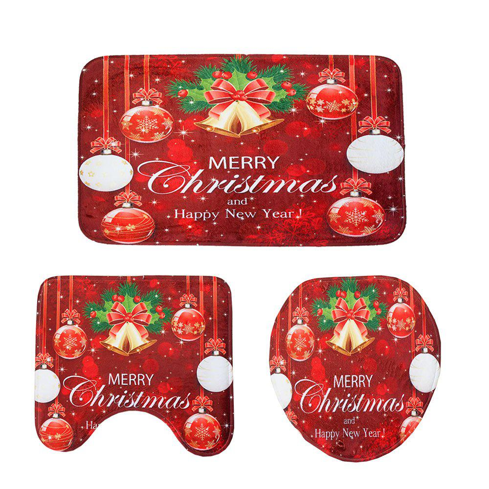 Chic New Red Christmas Toilet Mat Three-Piece