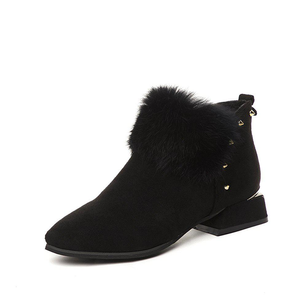 Image of Fashion Warm Bare Boots Thick with Ankle Boots Zipper Fur Female Boots