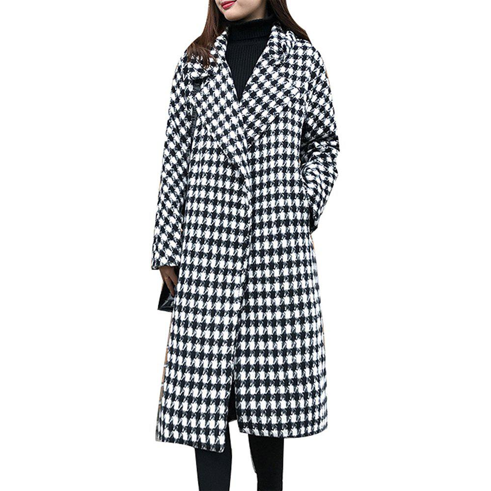 Outfits Women's Coat Loose Houndstooth Pocket Outerwear