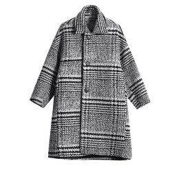 Women'S Coat Loose Turn Down Collar Plaid Coat -