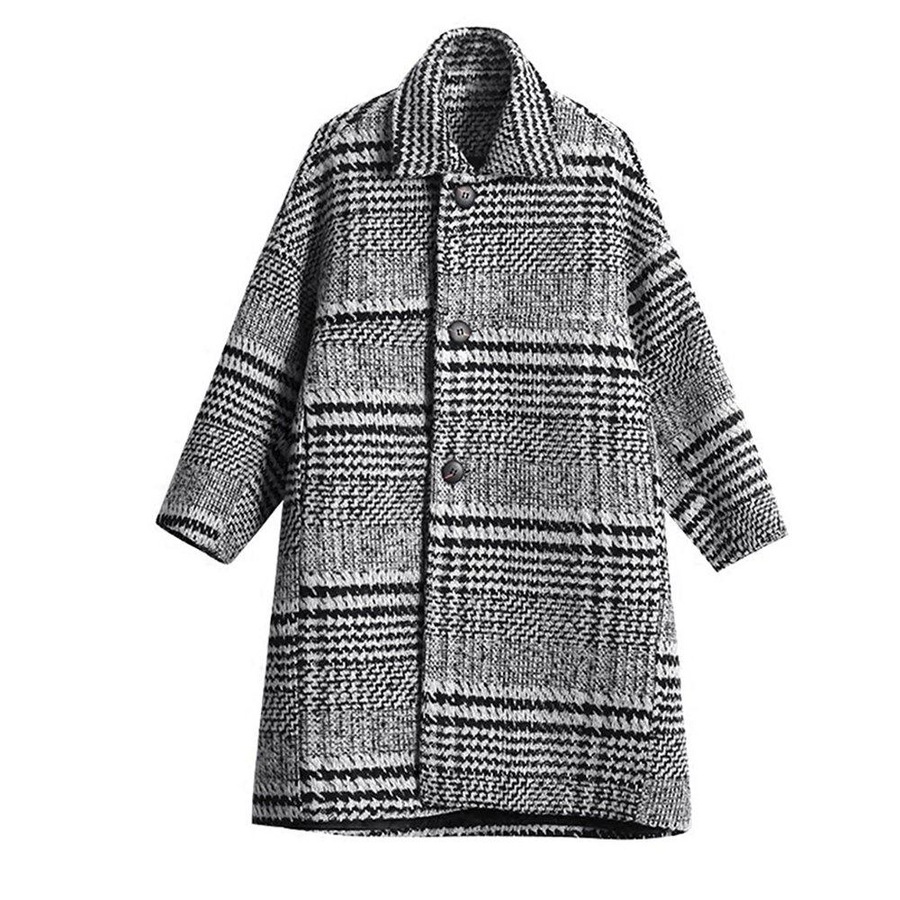 Hot Women'S Coat Loose Turn Down Collar Plaid Coat