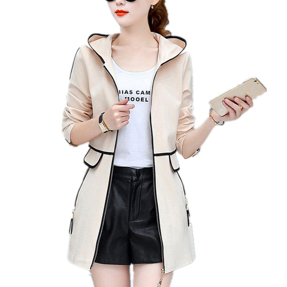 Buy Women's Trench Coat Hooded Zipper Plus Size Tassel Decor Chic Outwear