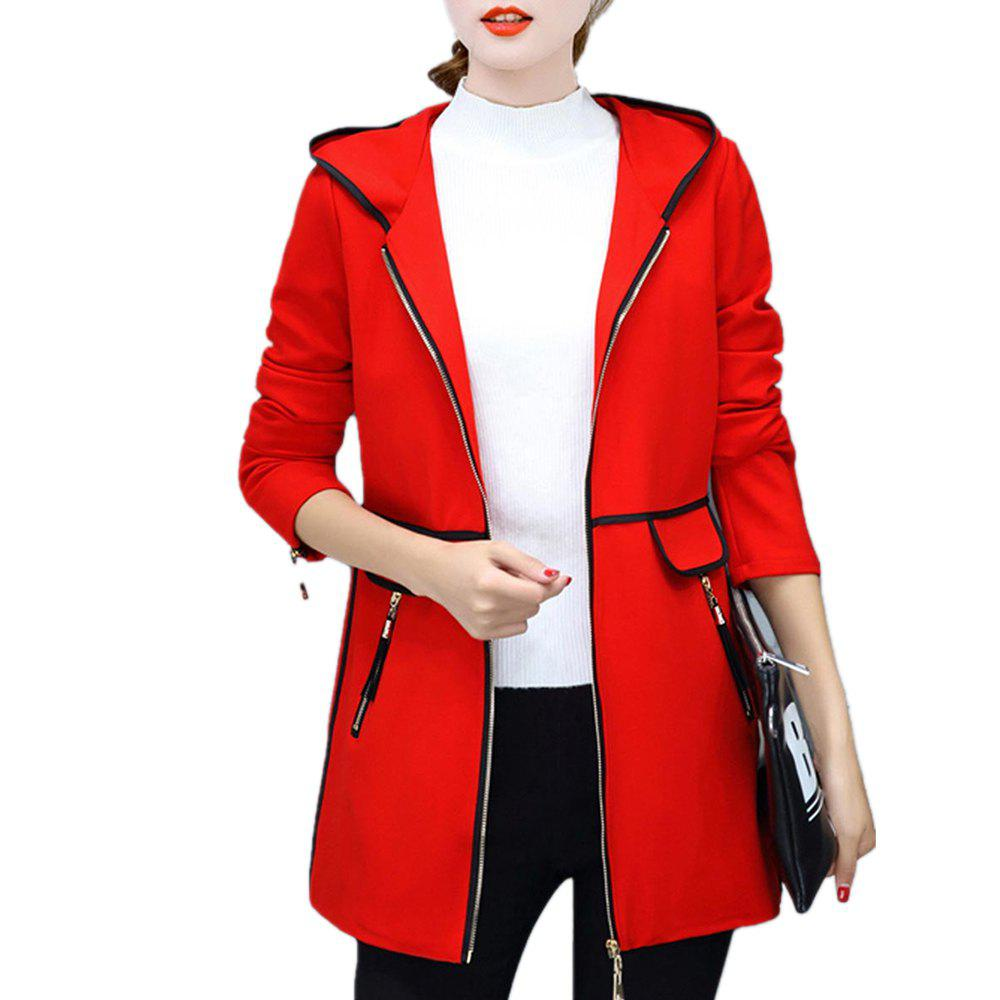 Latest Women's Trench Coat Hooded Zipper Plus Size Tassel Decor Chic Outwear