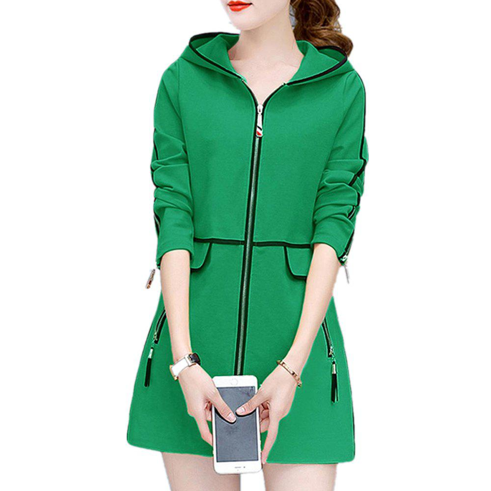 Outfits Women's Trench Coat Hooded Zipper Plus Size Tassel Decor Chic Outwear