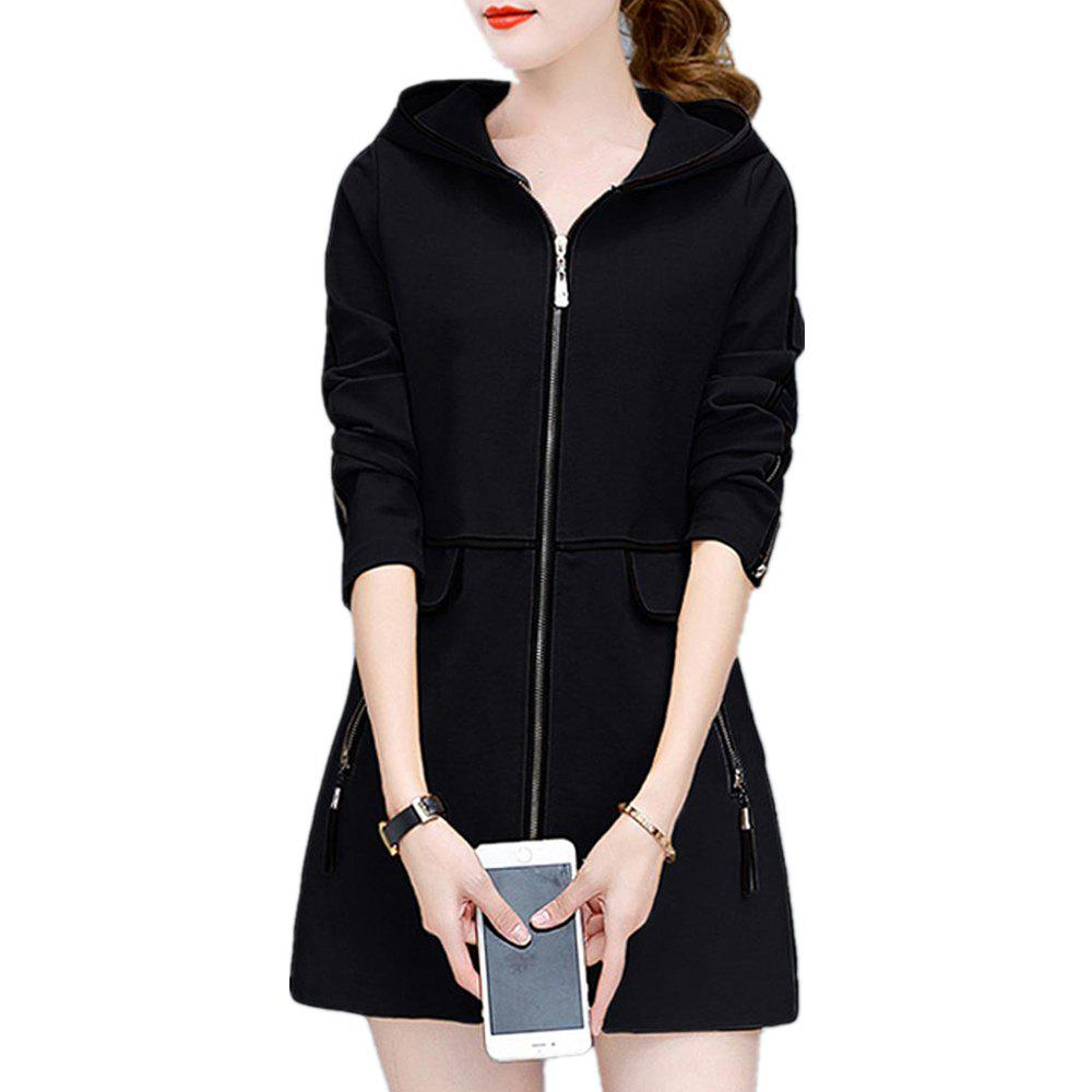 Trench-Coat Zipper à capuche pour femmes, plus la taille Gland Decor Chic Outwear