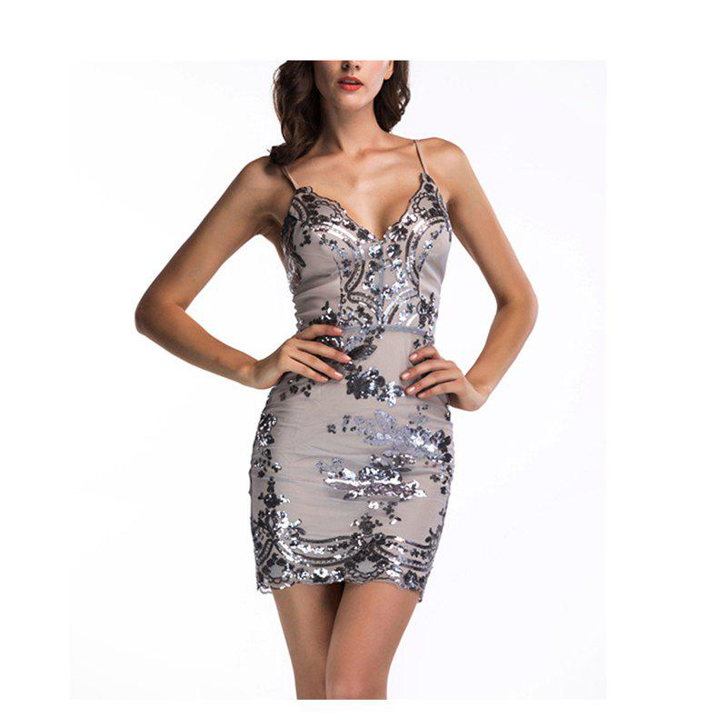 Shop Sling Sequins Dress Women Bodycon Sexy Sleeveless Backless