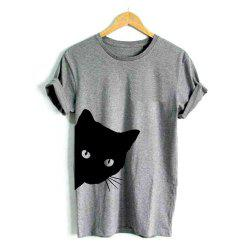 Cat Looking Out Side Print Women Tshirt Cotton Casual Funny T Shirt For Lady Gir -