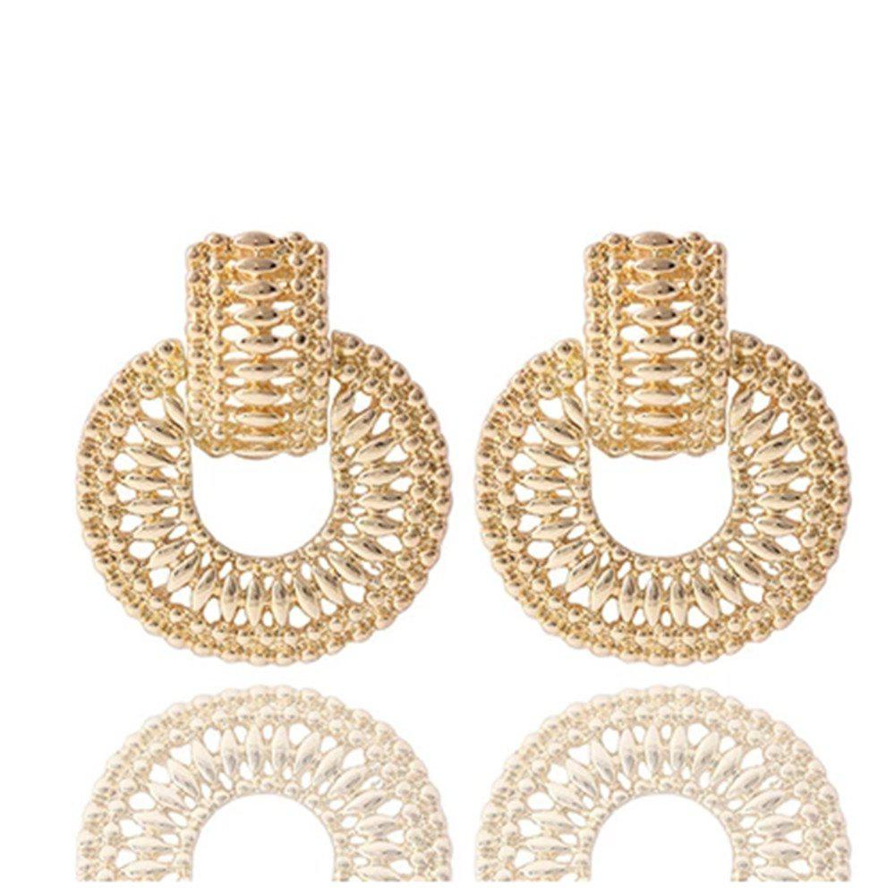 New Fashion Gold And Silver Clown Round Metal Earrings