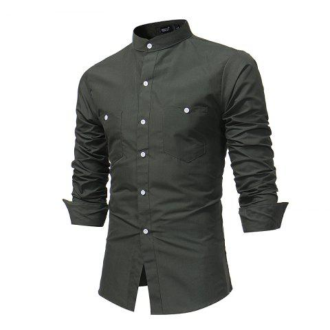 Men'S British Long Sleeved Shirt Youth Fashion