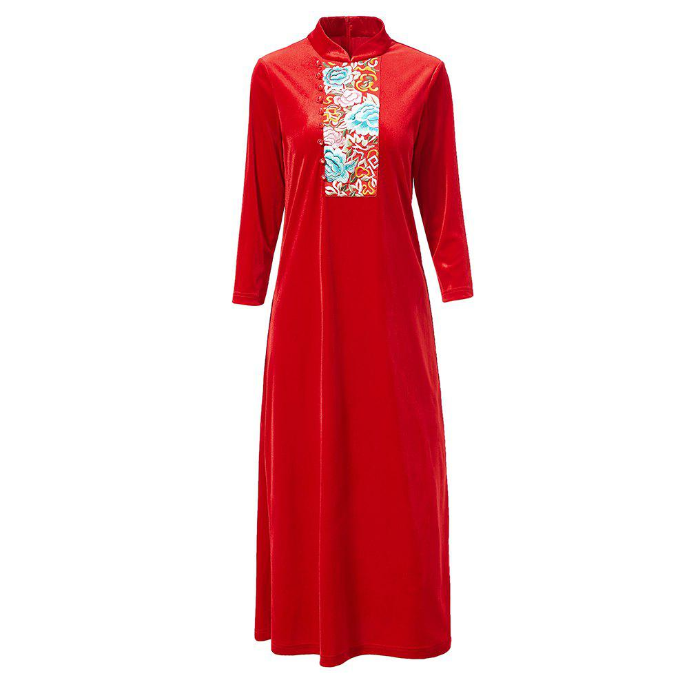Discount UILY Chinese Cheongsam Veloue Embroidered Long Velour Loose Dress
