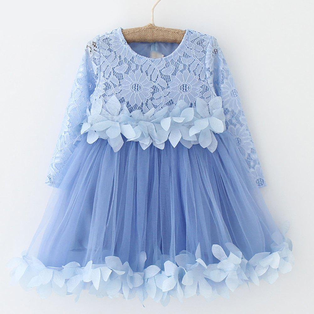 0a25a2cd298 Outfits Summer Brand Kids Dress Lace Style Long Sleeves Dress