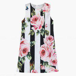 Girls Clothes Spring New Black and White Striped Rose Princess Dress -