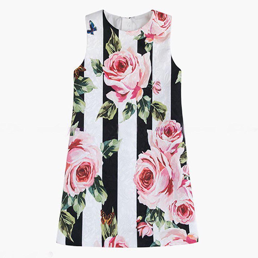 Discount Girls Clothes Spring New Black and White Striped Rose Princess Dress