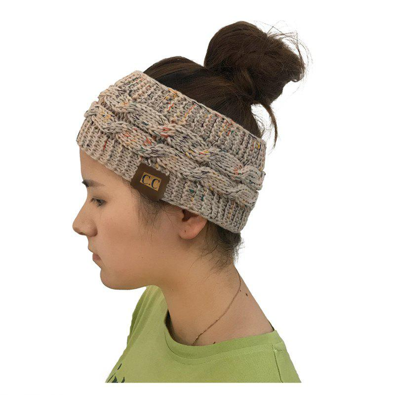 New Spotted Yarn Coloured Knitted Twist Hairband CC Labeled Ponytail Cap