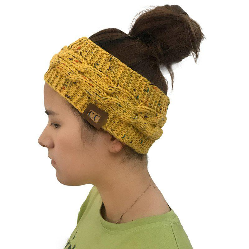 Trendy Spotted Yarn Coloured Knitted Twist Hairband CC Labeled Ponytail Cap