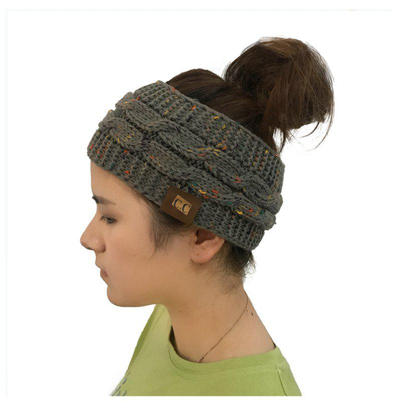 Latest Spotted Yarn Coloured Knitted Twist Hairband CC Labeled Ponytail Cap