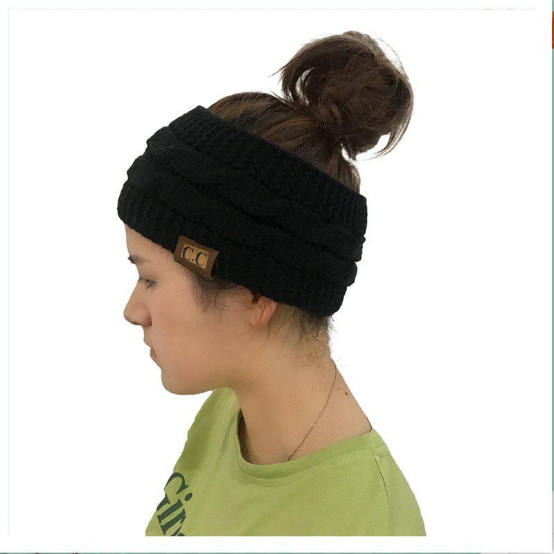 Sale Spotted Yarn Coloured Knitted Twist Hairband CC Labeled Ponytail Cap