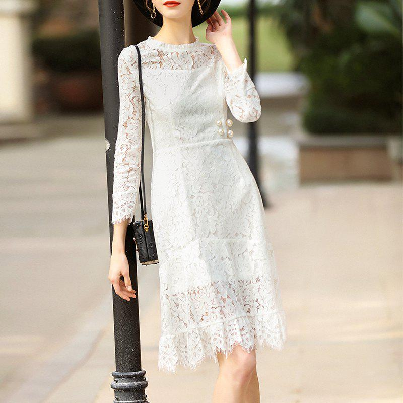 Fashion Fashion Round Collar Lace Waist Nail Beads Dress