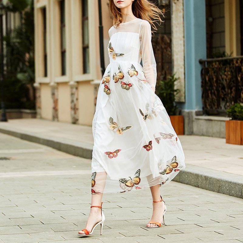 Trendy Fashion Round Collar Lace Butterfly Dress